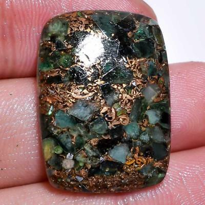 22.45 Ct. 100% Natural Spiny Copper Emerald Radiant Cabochon Gemstone C-2879