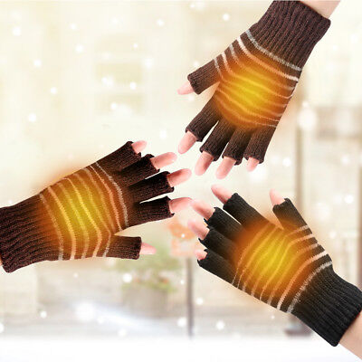 5V USB Powered Heating Heated Winter Hand Warmer Gloves With One Cable LS