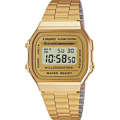 Casio Retro Classic Unisex Digital Steel Bracelet Watch A168WG-9EF Gold