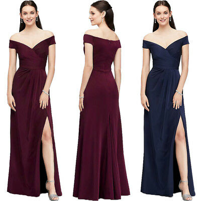 Womens Off Shoulder Party Dresses Evening Formal Ball Gown Prom Bridesmaid Dress