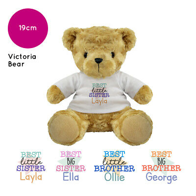 Personalised Best Sister Brother Little Big Sibling Victoria Bear Teddy Gift