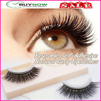 New Arrival ! 1Pair of Reusable Self-Adhesive Natural Curly Eyelashes Extension
