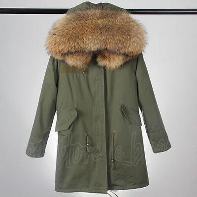Womens Large Real Raccoon Fur Collar Hood Parka Warm Jacket Coat Winter Overcoat