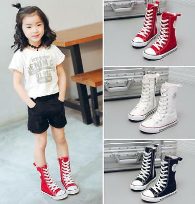 Boys Girls Kids Canvas High Tops Mid Calf Boots Trainers Flat Shoes Pumps Casual