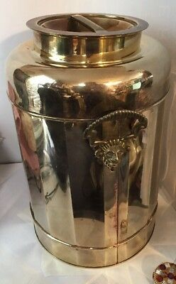 Vintage Large Decorative Copper / Brass Milk Can with Lion's Head Handles 14 x 9