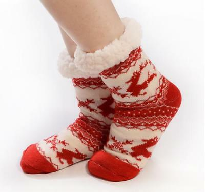 Ladies Xmas Snuggle Toes  Thick Cosy Womens Fur Lining Thermal Socks Warm Winter
