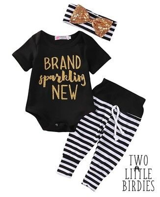 Baby Girls Brand new Clothes Set Romper Tops Pants Headband going home outfit