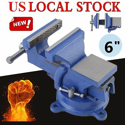 6 Heavy Duty Iron Vise Swivel Base Jaw Work Bench Workshop Clamp Bench Table Engineer