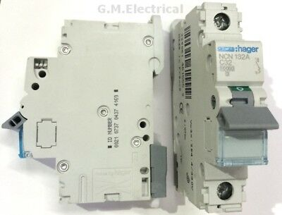 Hager 32 Amp Type C 32A Mcb Circuit Breaker Single Pole Phase Ncn132A 10Ka