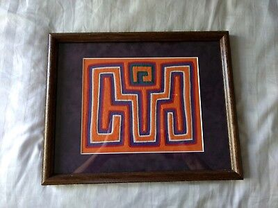 Vintage Framed Panama Mola Art with Matting