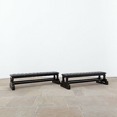 19th Century Ebonised Benches with Leather Upholstery. Antique Furniture.