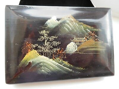 Small Vintage Japanese lacquer trinket box 1920s ? with house trees mount Fuji