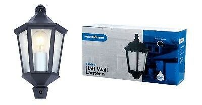 PowerMaster Outdoor 3-Sided Black Half Wall Lantern – IP44 Rated