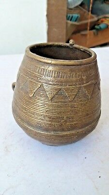 old solid brass grain measuring bowl wax casting by some trible RARE shape