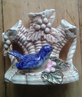 Vtg Majolica Blue Bird Vase Triple tree trunk Japan 5 inches