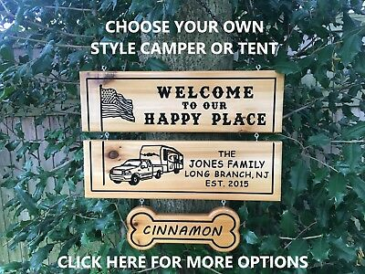 Personalized Custom Carved Wood Family Name Rustic Camping Sign Plaque RV Sign