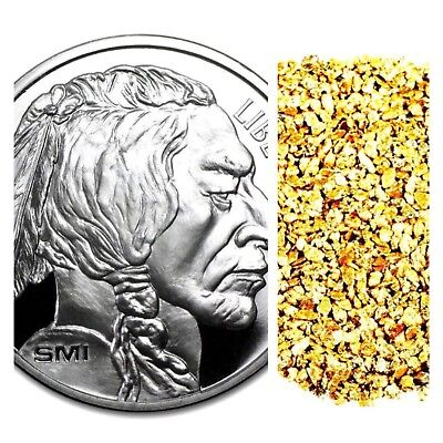 1 Ounce .999 Silver Bullion Smi Buffalo Bu + 10 Piece Alaskan Pure Gold Nuggets
