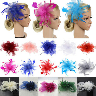 Womens Sinamay Fascinator Cocktail Hat Headpieces Hairpin Feather Hair Clip Lot
