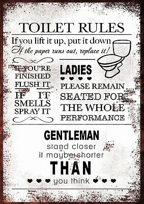 Toilet rules humorous Vintage Retro style Metal Sign, pub, man cave, office