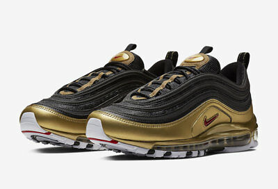 "AT5458-002 NIKE AIR MAX 97 QS ""METALLIC PACK"" Black Red Gold White Men's Sneaker"