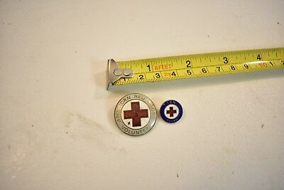 Nice Pair Of Vintage American Red Cross Volunteer Pins W/ Enamel Paint - USA 50s