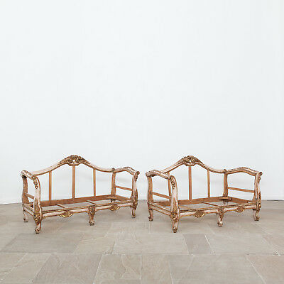 Early 19th Century French Giltwood Sofas. Antique Furniture.
