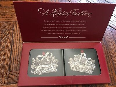 LONGABERGER  PEWTER HOLIDAY BASKET ORNAMENTS Set OF 2 2005/2006 New In Box