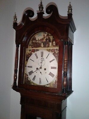 Antique Scottish 19Th Century Long Case Grandfather Clock Time And Calendar