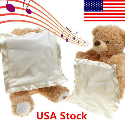 US Peek A Boo Teddy Bear Toddler Kids Children Child Play Soft Toy Plush Blanket