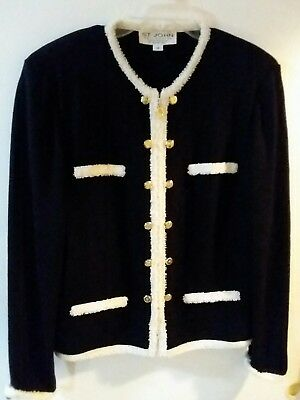 St. John Collection By Marie Gray Zip Up Cardigan Jacket Blazer Women's Sz 10