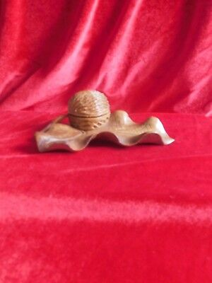 Antique  Black Forest Carved Leaf & Nut Inkwell.