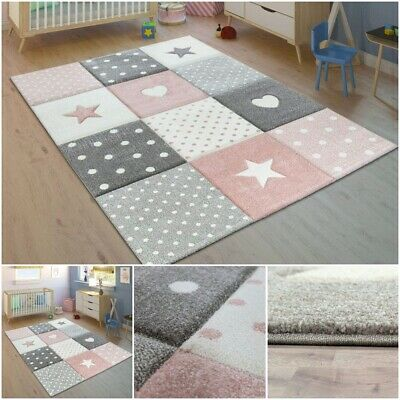 Cute Baby Girl Children Rug Pink Grey Thick Soft Pile Nursery Playroom Carpet