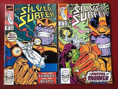 Silver Surfer Vol 3 #34 & 44 1St App Infinity Gauntlet Thanos Marvel Comics Nm-