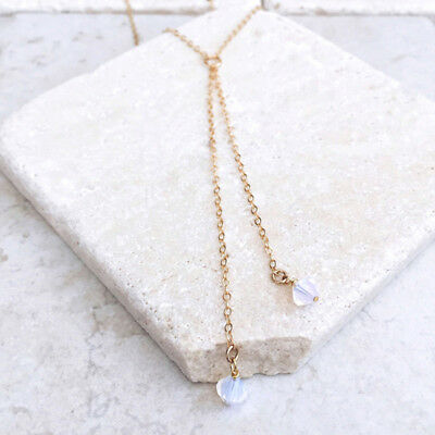 Opal Opalite Healing Crystal Quartz Point Choker Double Layer Chain Necklace G