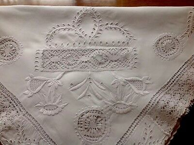 Immaculate Snowy White  Hand Embroidery Whitework Cut Work Lace Tablecloth