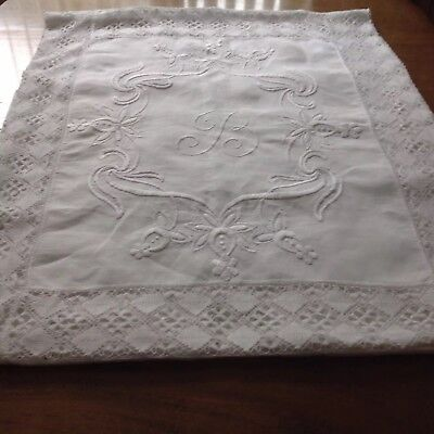 Large Antique Hand Raised Whitework  Lace Monogramme Tablecloth/ Bedspread