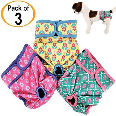 PACK of 3 Dog Diapers Female Cat LEAK PROOF Washable Waterproof Small Large Pets