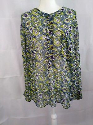 LANE BRYANT womens size 22/24 green/blue/purple long sleeve 100% poly blouse