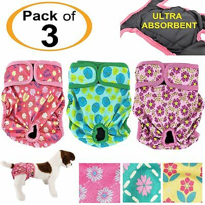 3pcs Dog Diapers Female Cat LEAK PROOF Waterproof Washable for Small & Large Pet
