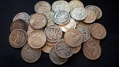 Kennedy, Franklin, Walking Liberty Half Dollars 2 ROLLS (40 coins) 1917 to 1964