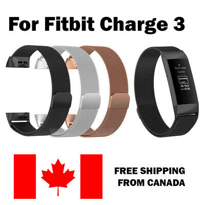 For Fitbit Charge 3 Band Stainless Milanese Replacement Wrist Smart Watch Band