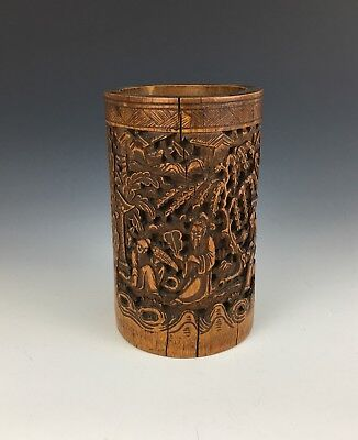 Antique Chinese Qing Dynasty Bamboo Carved Brush Pot Detailed Signed Calligraphy