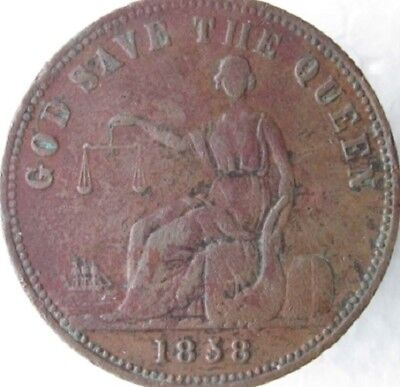 New Zealand 1858 Penny Token, Charles Barley, A27, L305, Scarce in High Grade