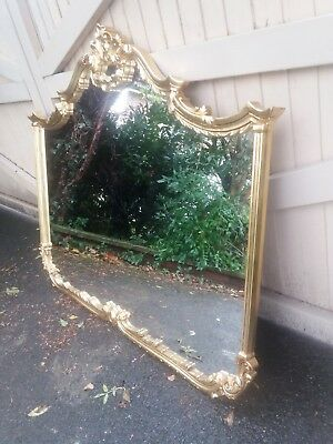 Very Large Ornate Gold Overmantle Mirror