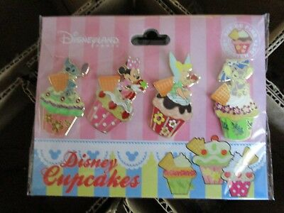 Disney DLRP Cupcakes -4 Pin Booster Set - Stitch Minnie Tinker Bell & Angel Pins