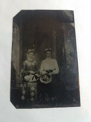 Victorian Fashion Antique Vintage Metal Tintype Photo Of Women With Hats & Bows