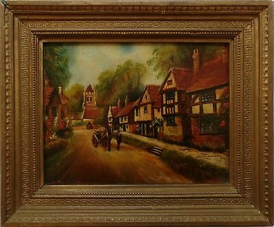 W Thicket, Original Early 20Th Century Vintage Oil Painting, Countryside Village