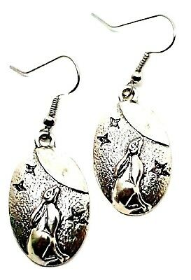 Moon Gazing Hare Hook Earrings Drop Dangle Pagan Wiccan Bohemian Boho