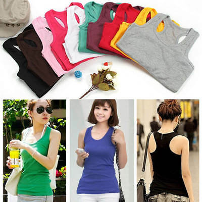 Womens Sport Vest Top Sleeveless Blouse Casual Tank Fitness T-Shirt Tee One Size