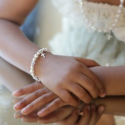 Baby & Kid's Christening Baptism Bracelet with Sterling Silver Cross Charm